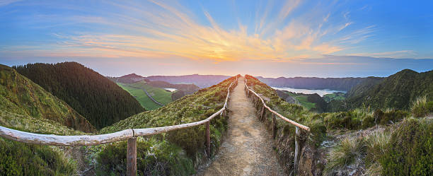 Mountain landscape with hiking trail, Ponta Delgada, Island, Azores, Portugal stock photo