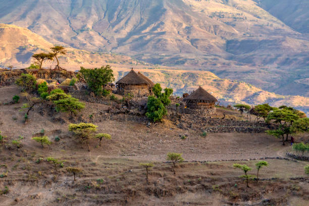 mountain landscape with houses, Ethiopia stock photo