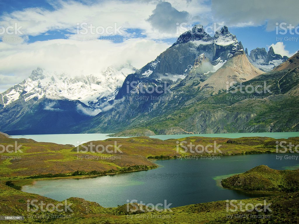 mountain landscape with lake and rain clouds, torres del paine - Royalty-free Andes Stock Photo