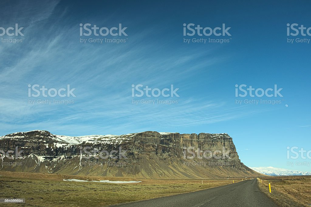 Mountain landscape with moon stock photo