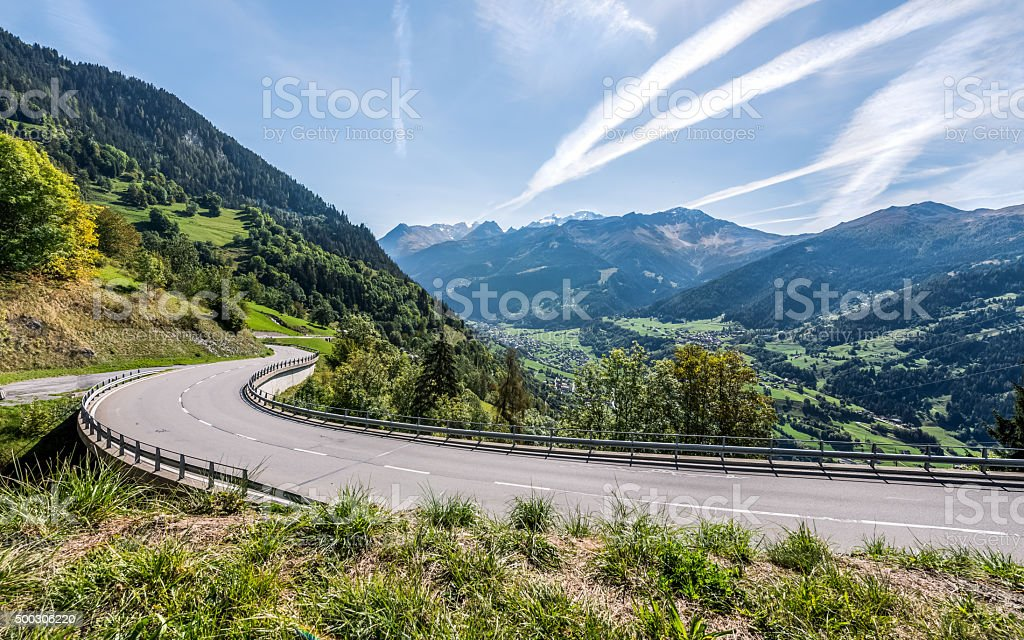 Mountain landscape with part of serpentine road stock photo