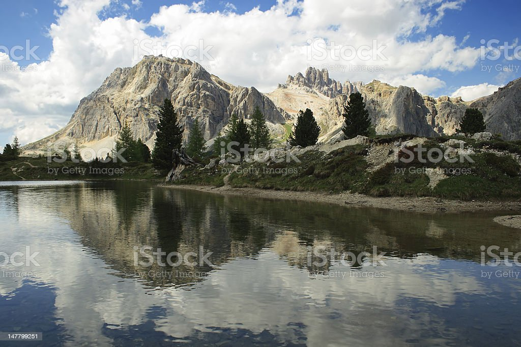 Mountain landscape with pond royalty-free stock photo