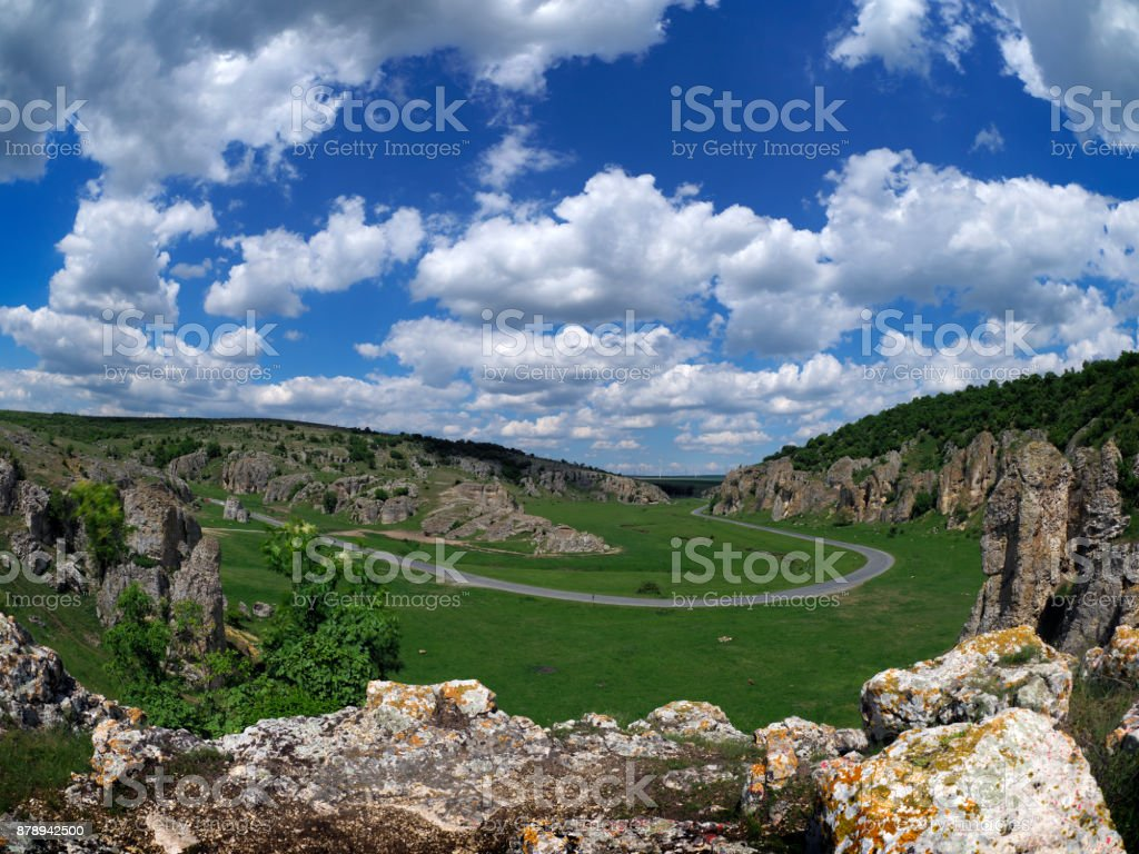 mountain landscape with some of the oldest limestone rock formations in Europe, Romania stock photo