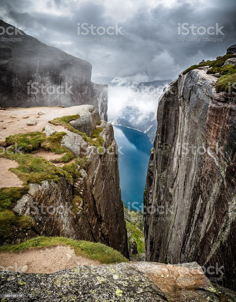 Mountain landscape with view on fjord. stock photo