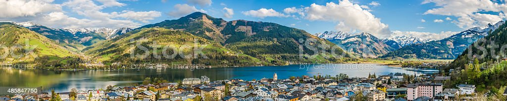 Mountain landscape with Zeller Lake in Zell am See, Austria stock photo