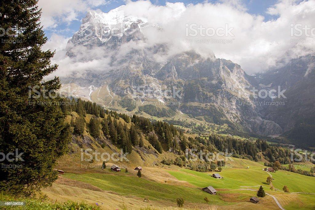 Mountain landscapes around Grindelwald, Switzerland stock photo