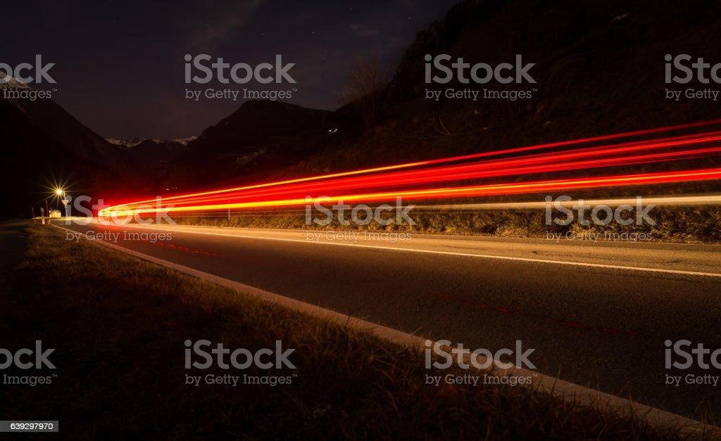 Mountain light trails stock photo