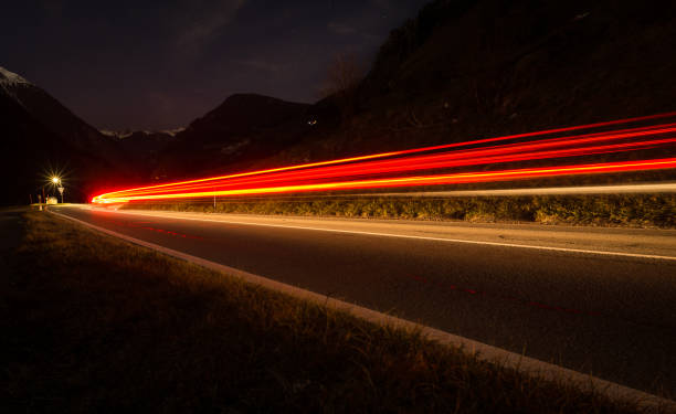 Mountain light trails stock photo