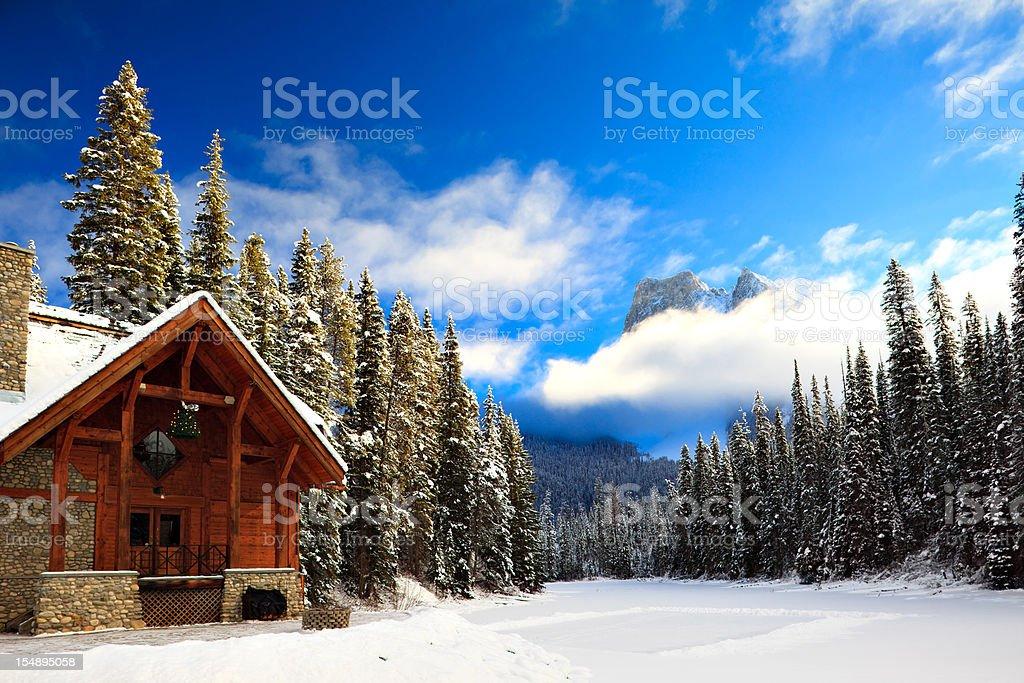 Mountain Lodge and Skating Rink stock photo