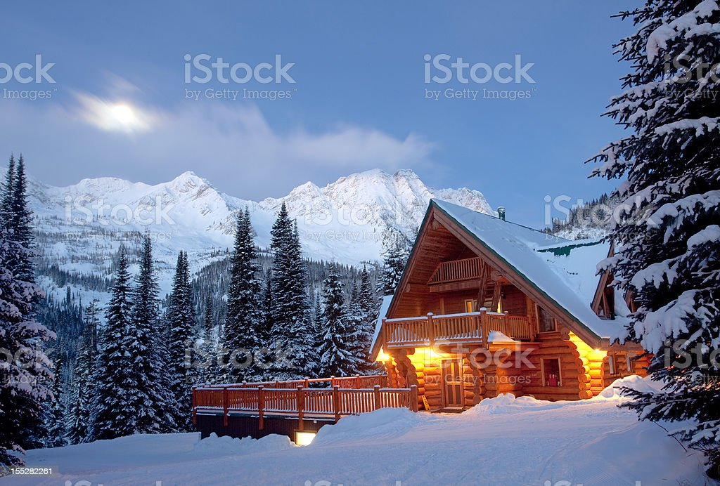 Mountain Lodge in Winter stock photo