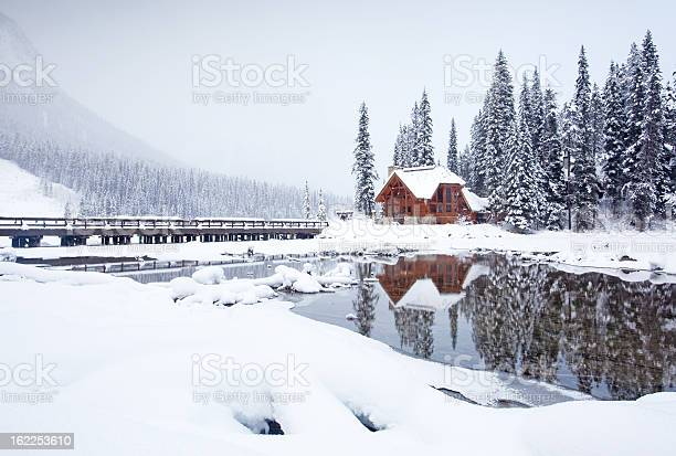 Mountain Lodge In Winter Stock Photo - Download Image Now