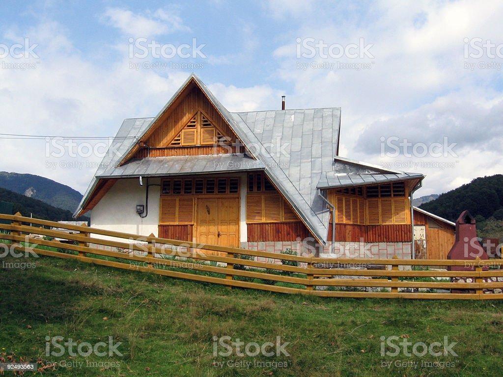 Mountain lodge stock photo