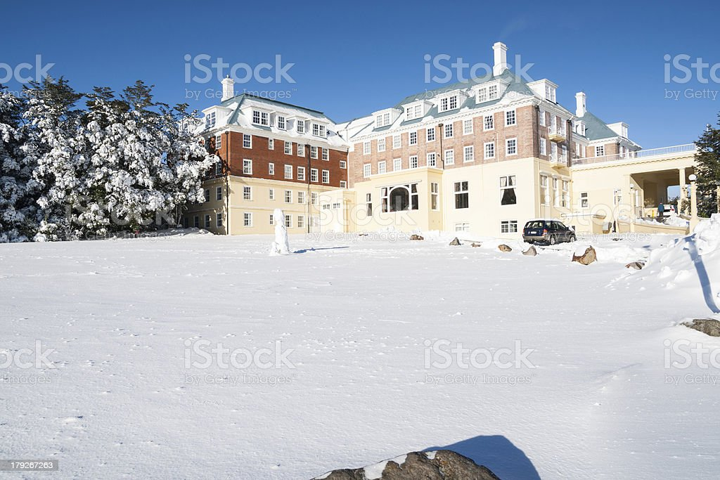 Mountain lodge surrounded by snow. stock photo