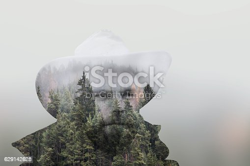 istock Mountain Man Double Exposure 629142628