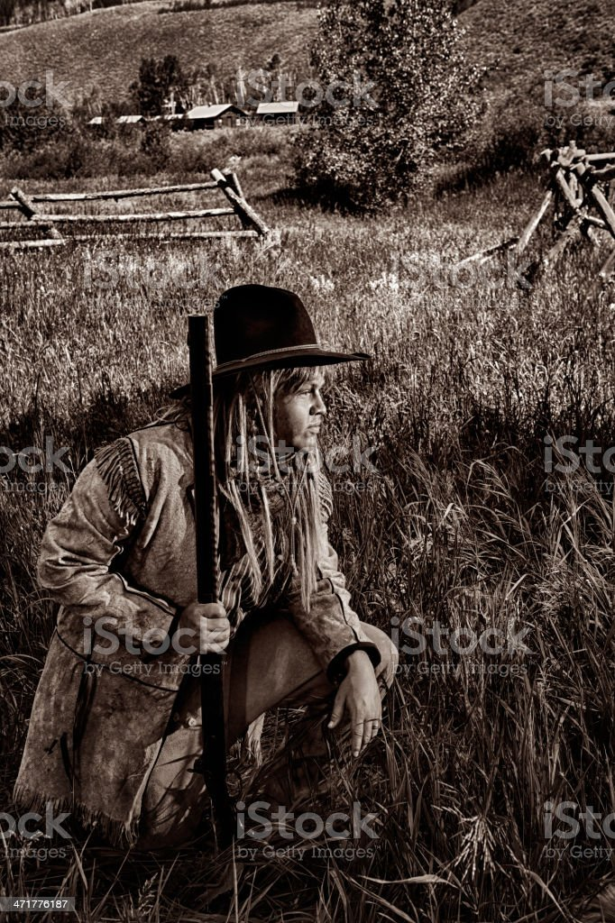 Mountain Man From The Early Wild West Era royalty-free stock photo