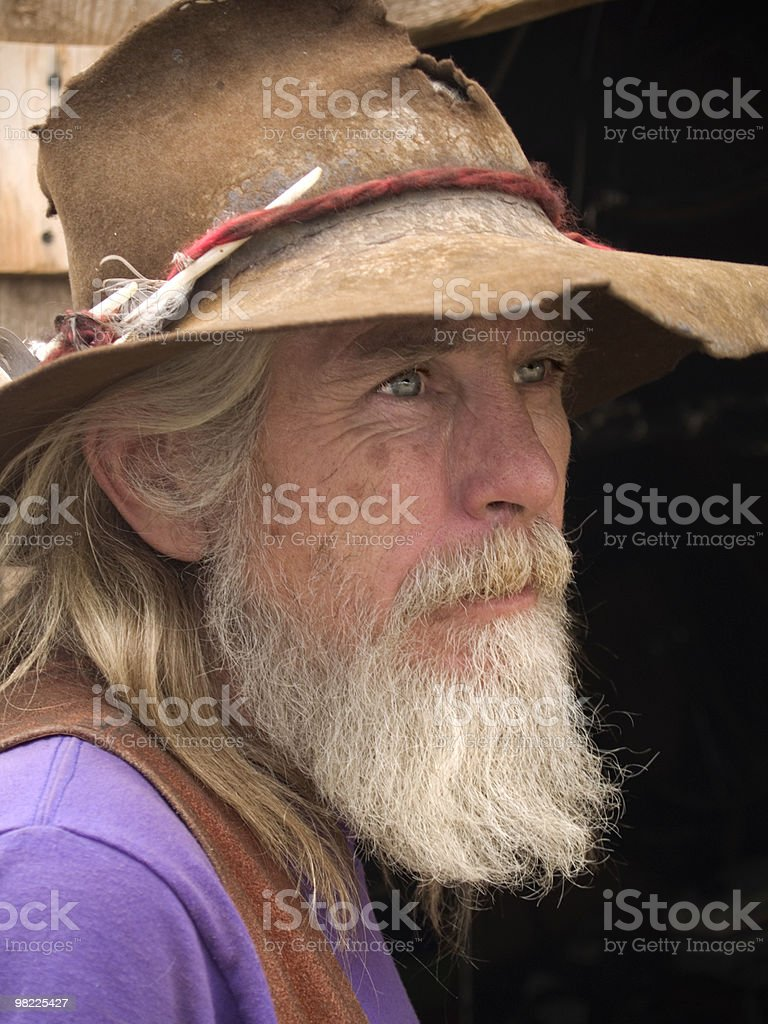 Mountain man with severe eyes royalty-free stock photo