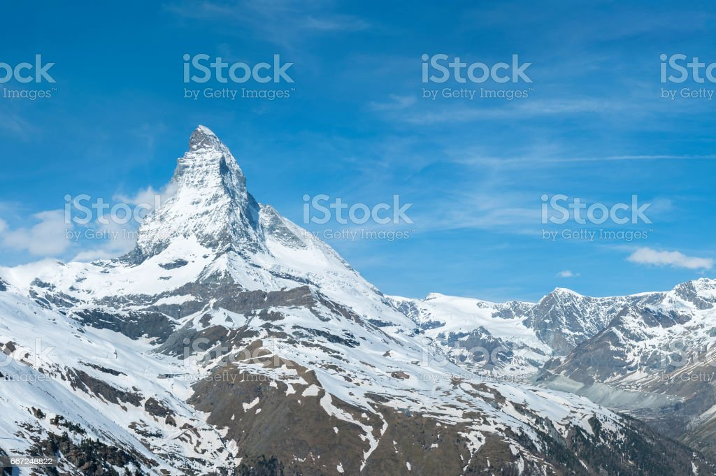 Mountain Matterhorn, Zermatt, Switzerland stock photo