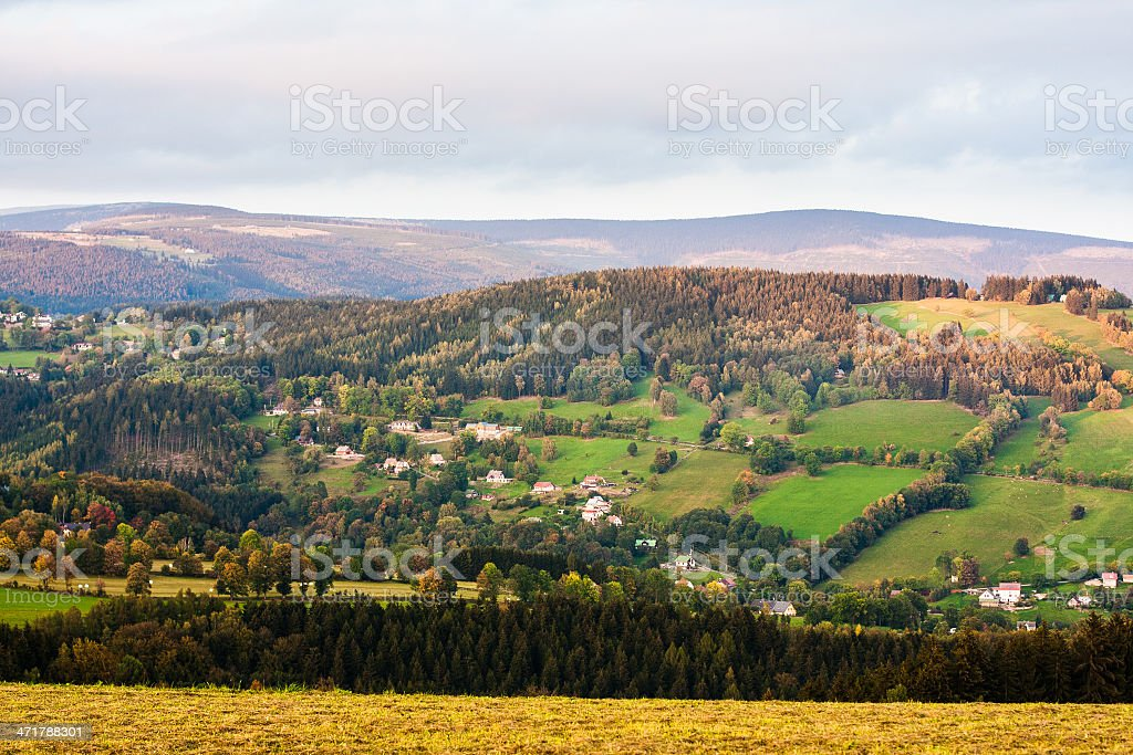 Mountain meadows at sunset royalty-free stock photo