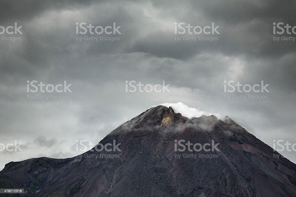 Mountain Merapi volcano, Java, Indonesia. Dramatic photo stock photo