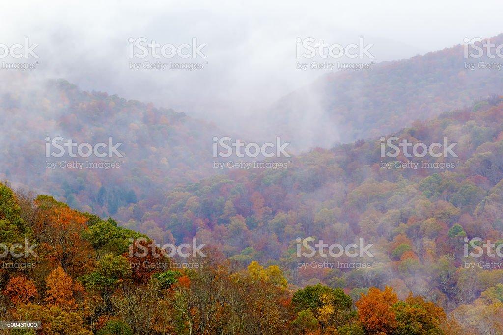 Mountain Mist In Fall stock photo