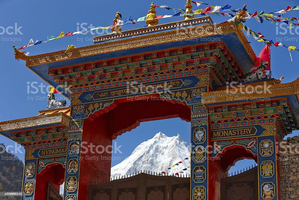 Mountain monastery. Manaslu. Everest Circuit. Nepal motives. royalty-free stock photo
