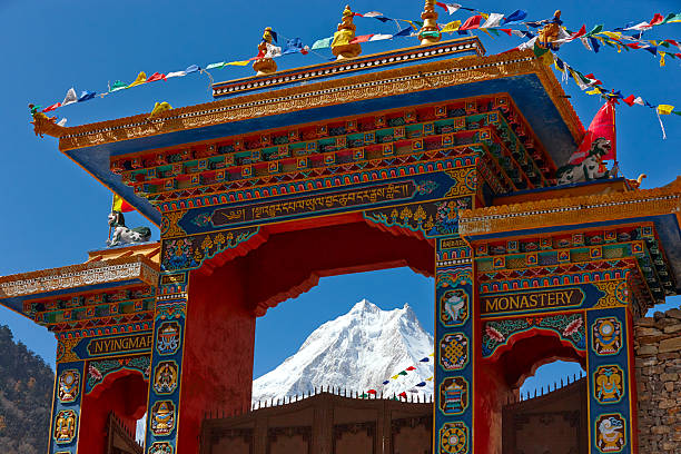 Mountain-Kloster.  Manaslu.  Everest Circuit.  Nepal Motive. – Foto