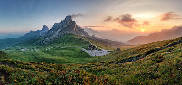 Mountain nature panorama in Dolomites Alps, Italy. stock photo