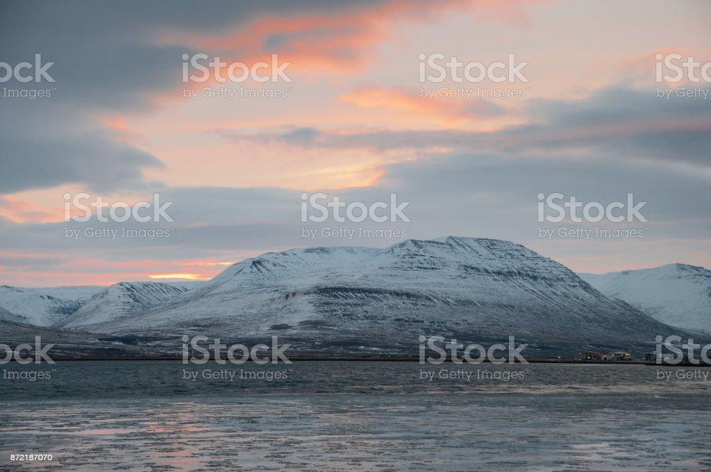Mountain near Akureyri in Iceland stock photo