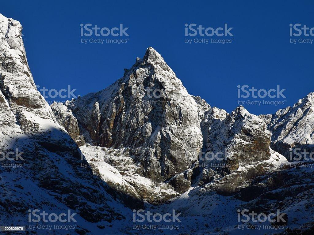 Mountain next to the Cho La pass trekking route stock photo