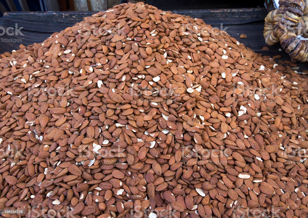 Mountain of almonds and a few figs royalty-free stock photo