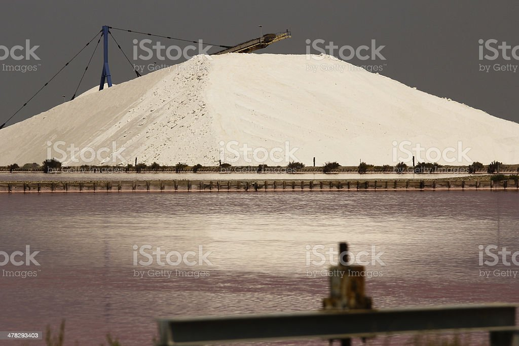 Mountain of salt and red water royalty-free stock photo