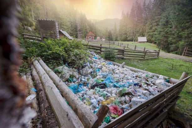 Mountain of trash under the top stock photo