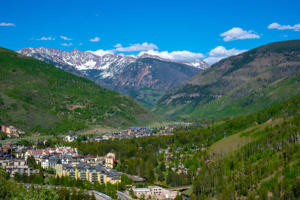 Mountain Overlooking Vail Colorado Ski country USA resort town of Vail Colorado minturn colorado stock pictures, royalty-free photos & images