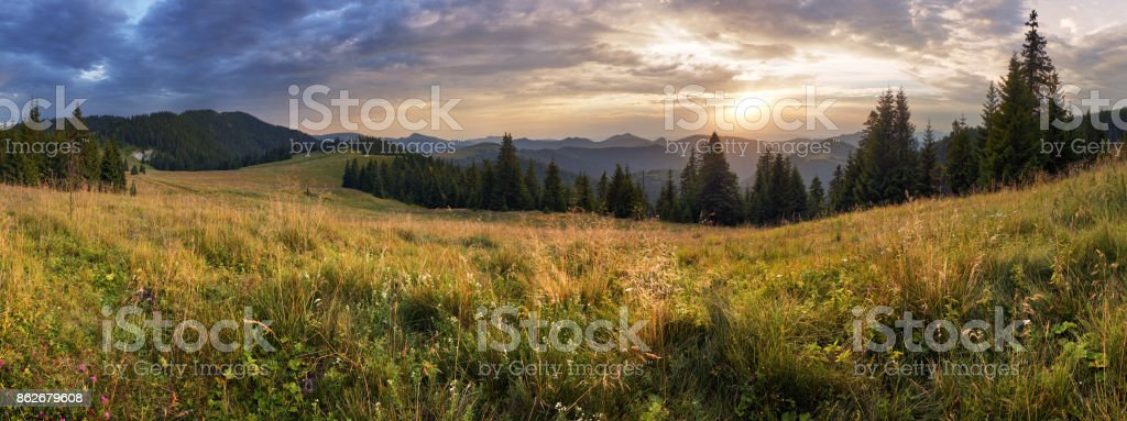 Mountain panorama at dramatic sunset in Slovakia, Velka Fatra, Smrekovica stock photo
