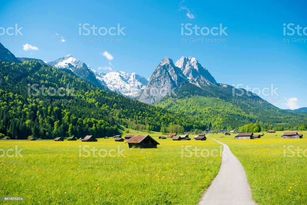Mountain panorama in front of blue sky (Garmisch - Partenkirchen) stock photo