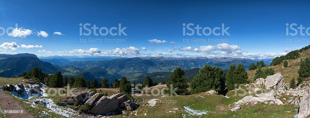 Mountain panorama in Raschötz South Tirol Italy stock photo
