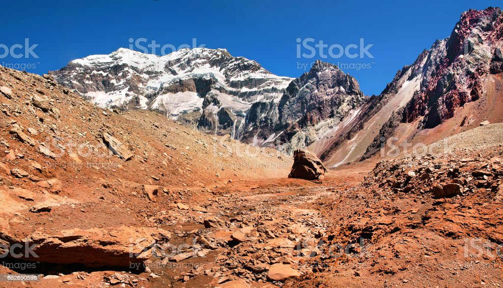 Mountain panorama of Aconcagua, the highest mountain in South America, as seen from South Side, Mendoza, Argentina stock photo