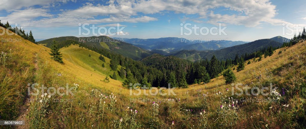 Mountain panorama, Velka Fatra, Smrekovica stock photo
