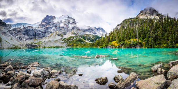 Mountain Panorama with Beautiful  Turquoise Glacier Fed lake stock photo