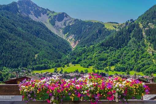 Mountain Panorama With Flowerpot In Courmayeur - Fotografie stock e altre immagini di Agosto