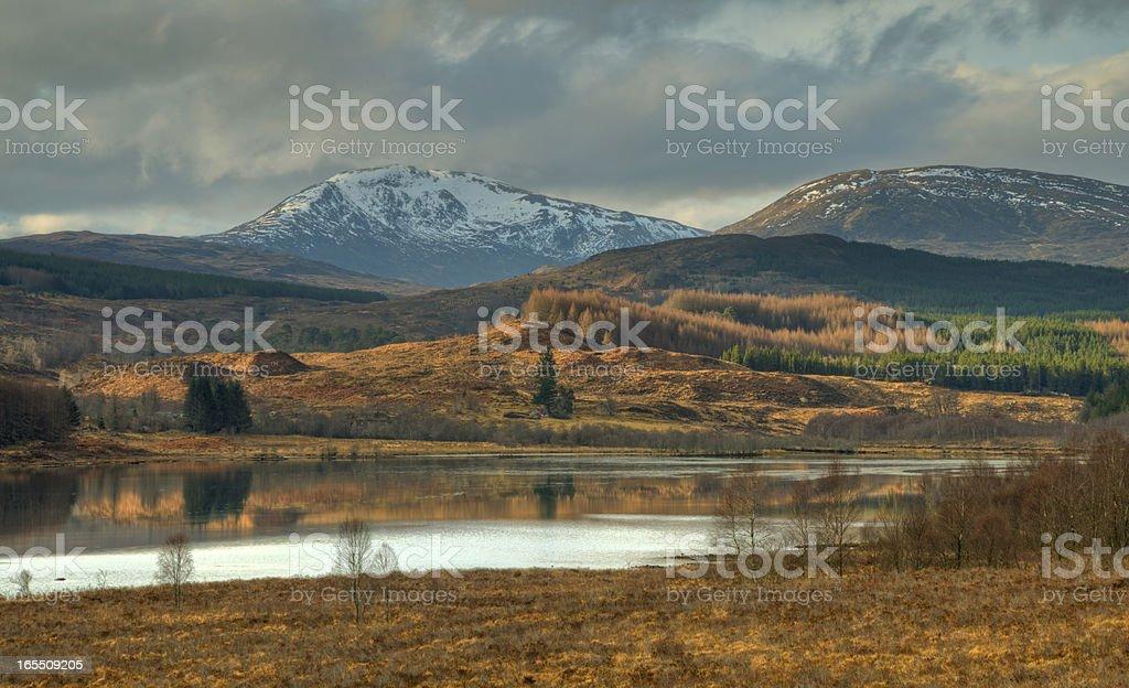 Mountain Panorama with lake stock photo