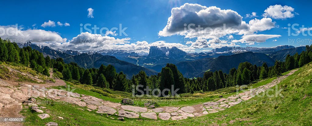 Mountain panorama with trail in Raschoetz South Tirol Italy stock photo