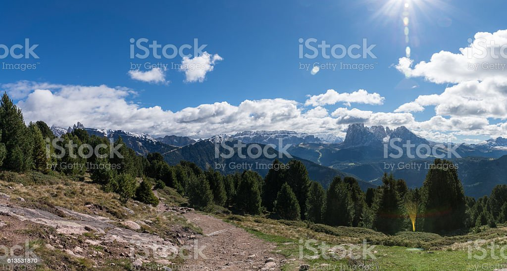 Mountain panorama with trail in Raschötz South Tirol Italy stock photo