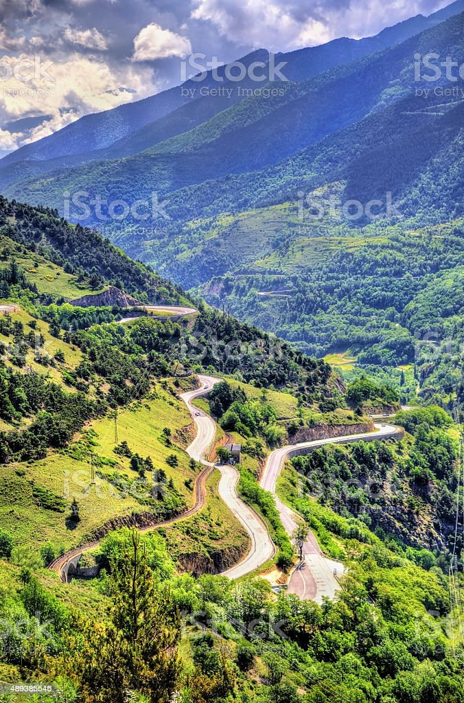 Mountain pass in Pyrenees-Orientales department, France stock photo