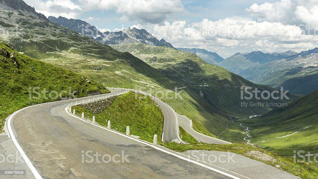 mountain pass in switzerland stock photo