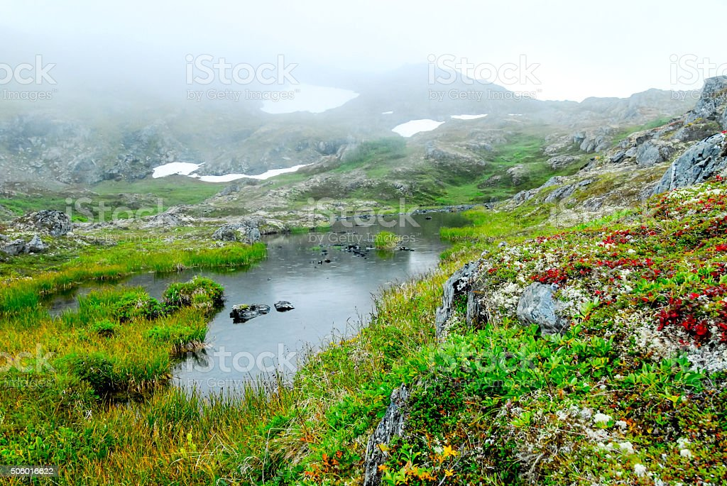 Mountain Pass, Thompson Pass, Alaska stock photo