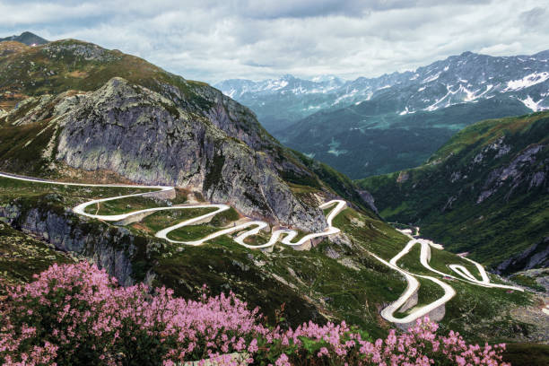 Mountain pass with a curvy road stock photo