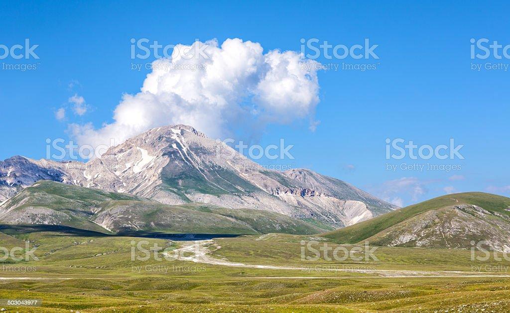 Mountain pasture Campo Imperatore, Province of l'Aquila, Abruzzi Italy stock photo
