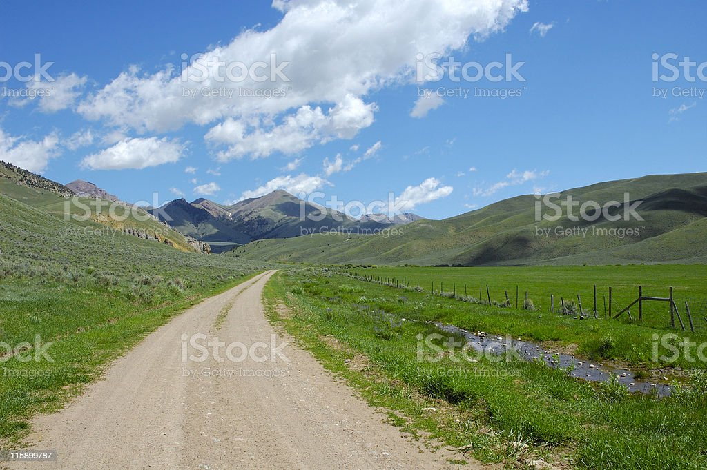 Mountain Pasture Road royalty-free stock photo
