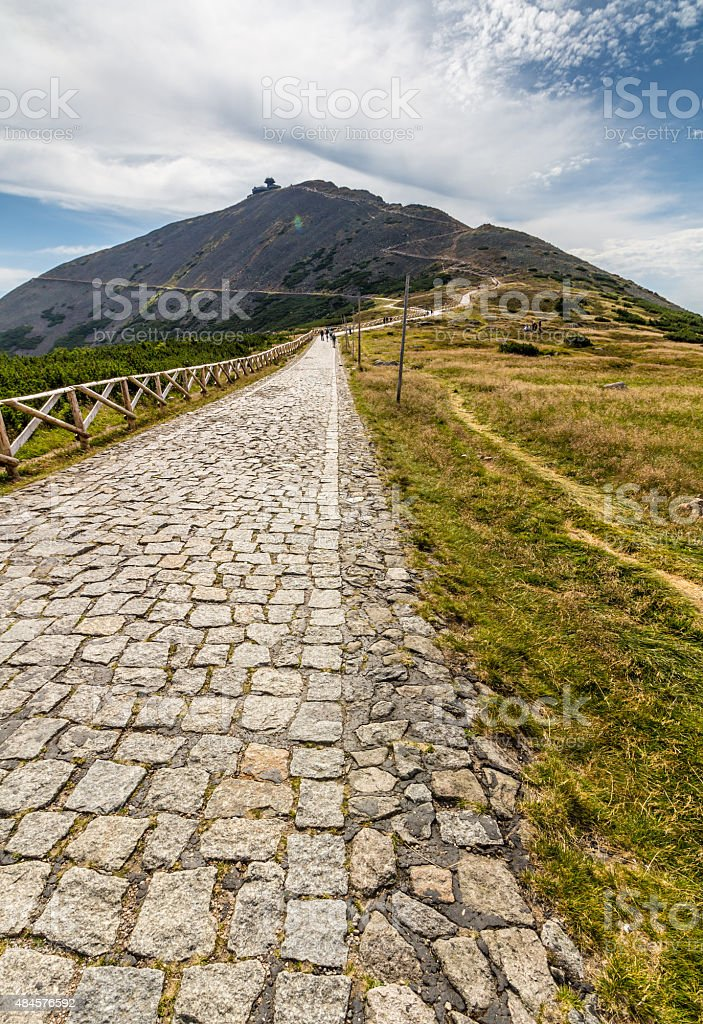 Mountain path in valley in the national park Krkonose stock photo